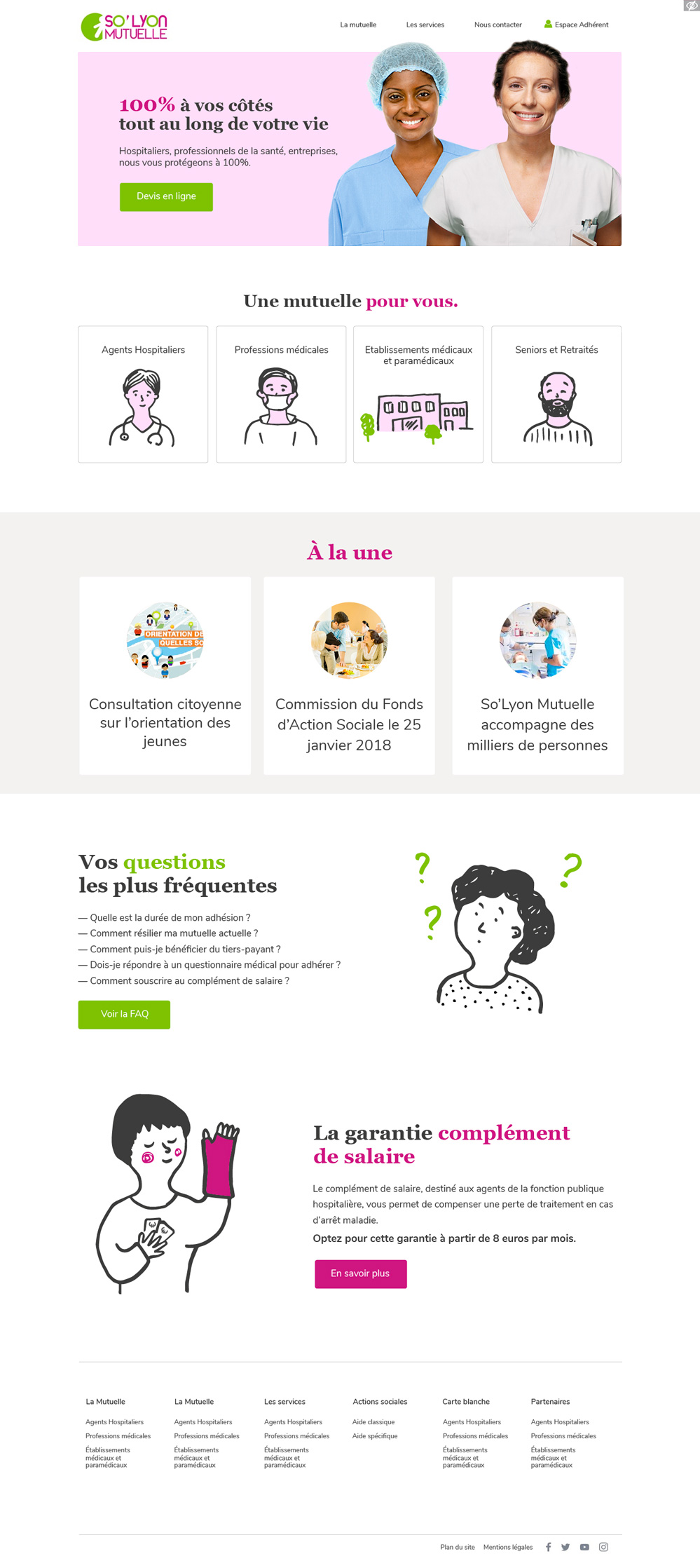page accueil site mutuelle