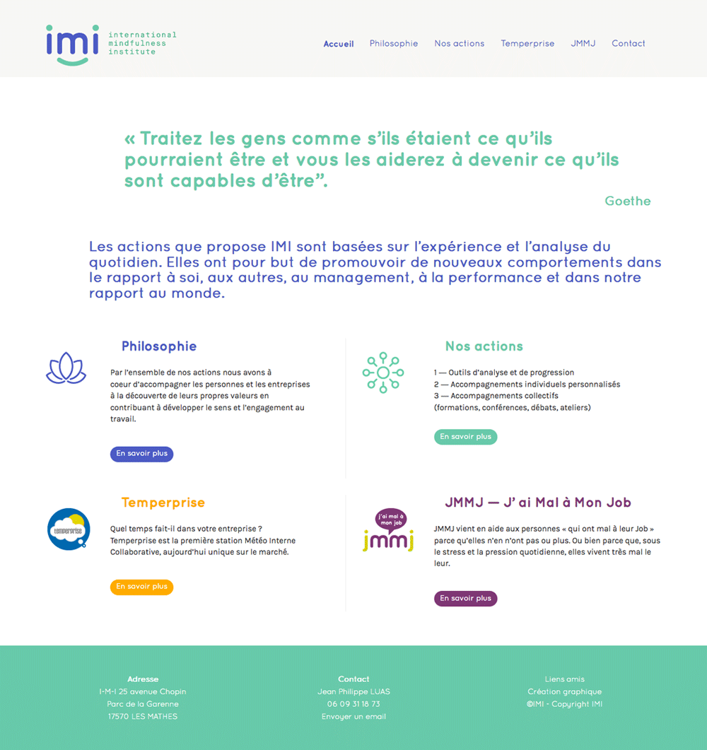 webdesigner lyon - page accueil international mindfulness institute